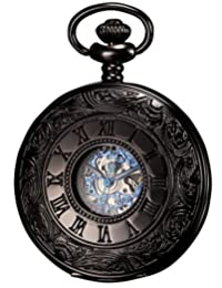 KS Mens Antique Black Hollow Case Retro Roman Numerals Dial Mechanical Pocket Watch KSP032