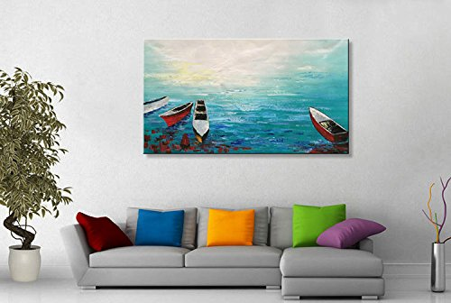 Seekland Art Hand-painted Abstract Modern Wall Art on Canvas Oil Painting Sailboat Blue Contemporary Art for Living Room Bedroom Unframed (72''W x 36''H) by Seekland Art