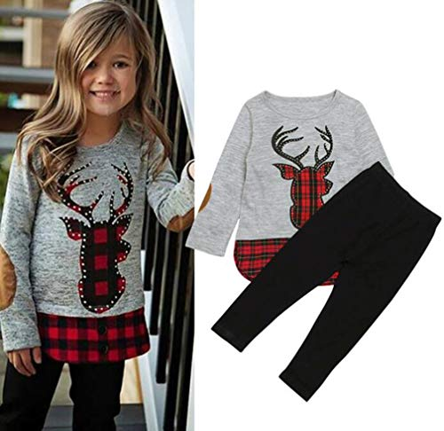 Autumn Winter Girls Clothes 2Pcs Christmas Outfit Kids Clothes Girls Sport Suit for Girls Clothing Sets Size 4-5 Years/Tag120 (Grey) ()