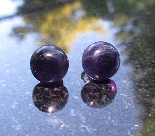 Purple Fluorite Studs Titanium Fluorite Gemstone Earrings with Round - Purple Fluorite Earrings