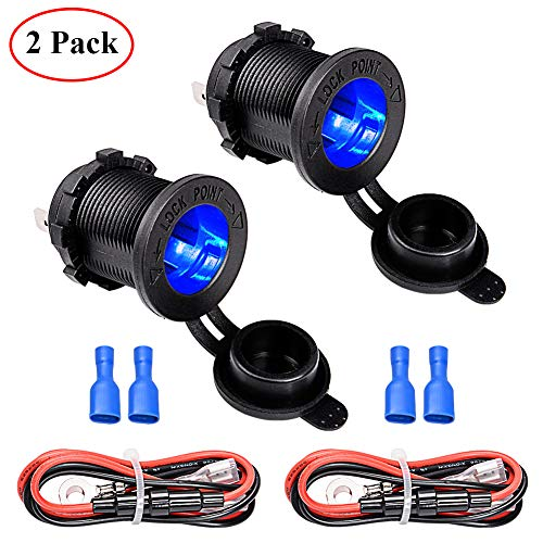 FICBOX 2Pack Cigarette Lighter Socket with LED Indicator 12V Waterproof Power Supply Outlet Adapter for Car Motorcycle Marine