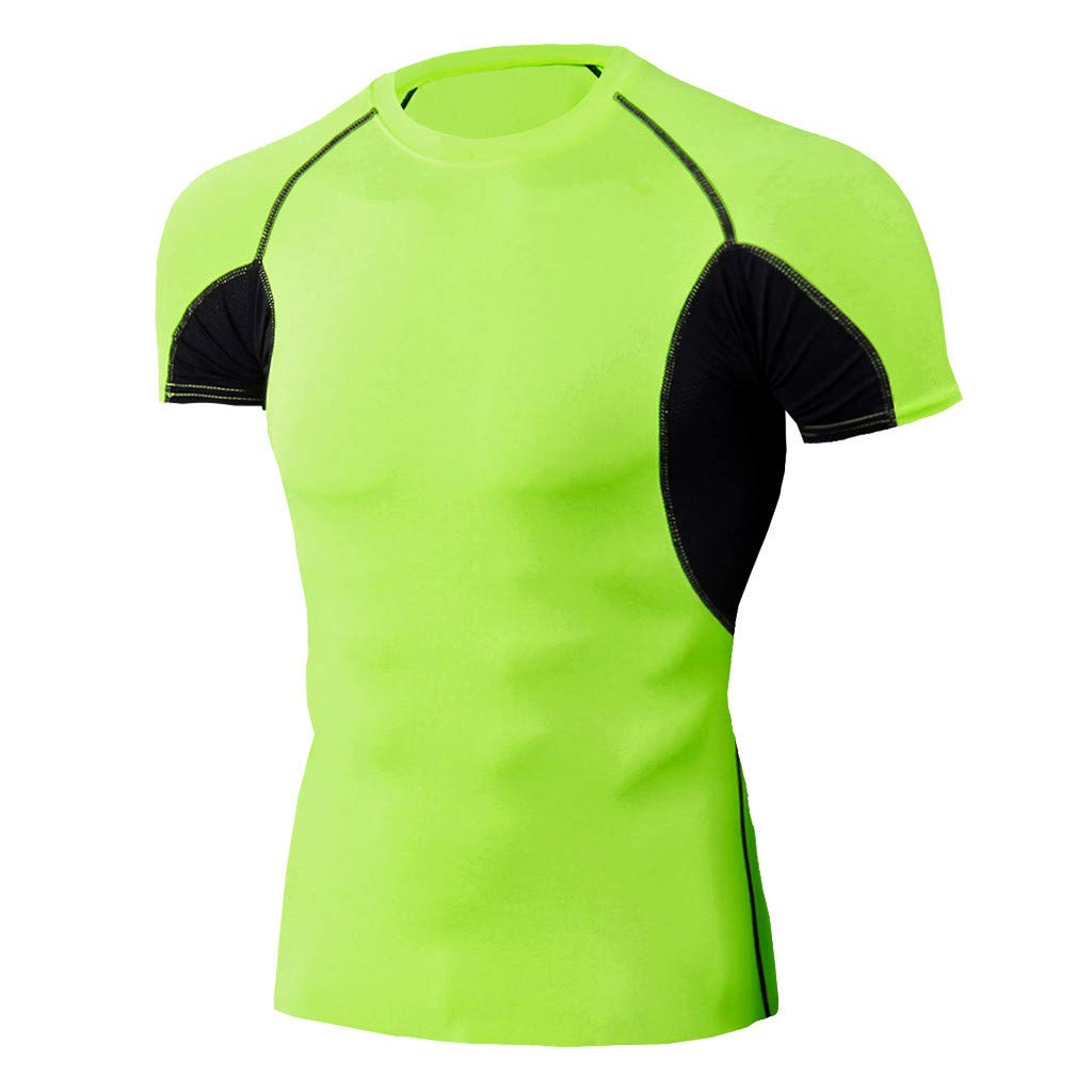 Winsummer Men's Cool Dry Compression Short Sleeve Sports Baselayer T-Shirts Tops Workout Athletic Shirts Green