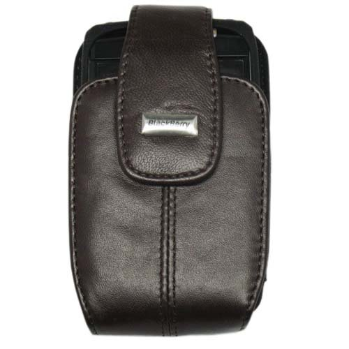 BlackBerry Dark Brown Lambskin Leather Holster with Swivel Clip and BlackBerry Black Silicone Skin for BlackBerry Bold 9700
