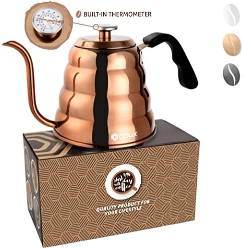 OPUX Gooseneck Pour Over Coffee Kettle with Thermometer Premium Grade Stainless Steel Drip Kettle for Home Coffee Brewing, Tea, Barista 40 fl oz Glossy Copper, Solid Top