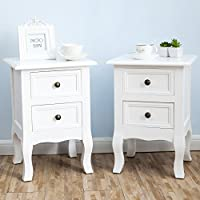 SUNCOO Wood End Table/Night Stand with 2-Drawer White ,Set of 2