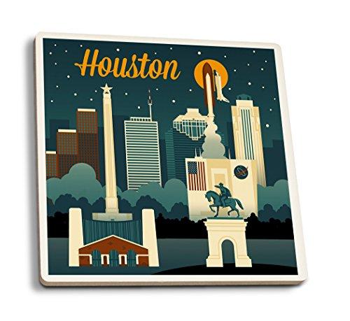 Lantern Press Houston, Texas - Retro Skyline (Set of 4 Ceramic Coasters - Cork-Backed, Absorbent)