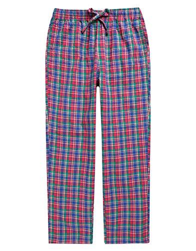 TINFL Boys Plaid Check Soft 100% Cotton Lounge Pants BLP02-09-Redblue-XL