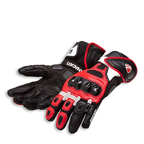 Ducati Speed Air C1 Leather Motorcycle Gloves (XL, Red/White/Black) Black White Motorcycle Gloves