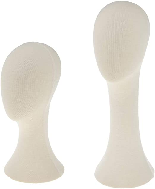 FLAMEER 2 Pcs 21 Cotton Cork Mannequin Long Neck Head Model Hair Hat Wig Glasses Stand Display for Retail Shop or Salon 15 20 Height White