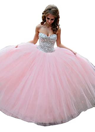 9679651a39d Meledy Women s Sweetheart Backless Beaded Ball Gown Lace-Up Crystal Sweet  16 SleevelessTulle Quinceanera Dress