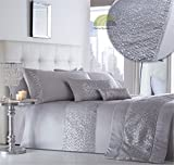 Cheap Super King Bedding Sets Homespace Direct Simmer Luxury Diamante Trim Duvet Quilt Cover Bedding Set Silver - UK Super King/US King
