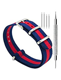 CIVO Watch Bands NATO Premium Ballistic Nylon Watch Strap Stainless Steel Buckle 18mm 20mm 22mm with Top Spring Bar Tool and 4 Spring Bars Bonus (Navy/Crimson, 22mm)