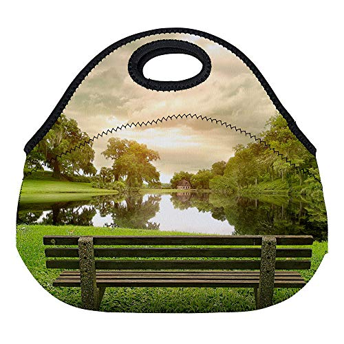 Lunch Box Neoprene Lunch Tote Lunch Bag Lunch Box Lunchbags Trees Pastoral Clear River Sunshine Bench Leisure Green Scenery