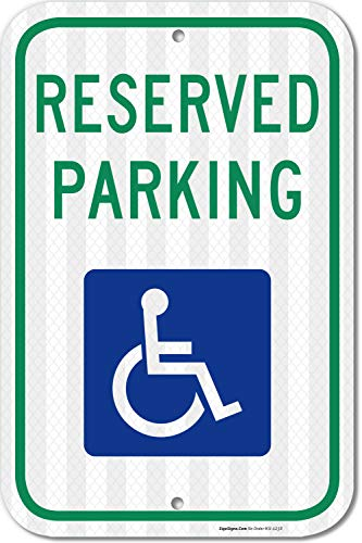 Parking Sign Aluminum Top - Handicap Parking Sign, with Picture of Wheelchair Sign, Federal 12x18 3M Reflective (EGP) Rust Free .63 Aluminum, Easy to Mount Weather Resistant. Made in USA - by SIGO SIGNS