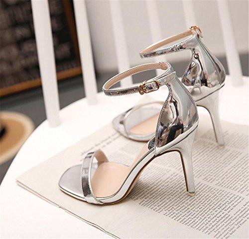 SHUNLIU Damen Sandalen High Heels Sandalen Knöchelriemchen Sandalen Absatz Offene Schuhe mit Wort Schnalle Damenschuhe Plateau Pfennig-/Stilettoabsatz High Heels Schnalle Silbern