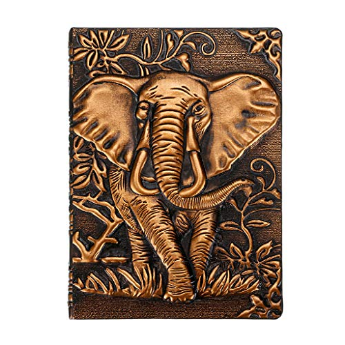 (BTSKY Embossed Elephant Hardcover Notebook- Vintage Leather Journal Writing Notebook Lined Travel Journal Handcraft Perfect Gift for Men & Women Travel Diary & Notebooks Lined Red A6)