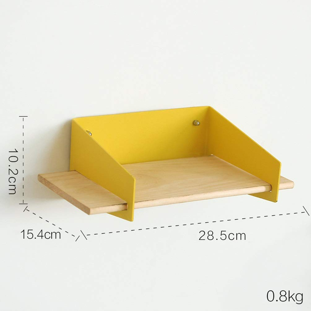 XYQS Simple Modern Word Wood Shelf Wall Rack Wall Hanging Finishing Living Room Bedroom Clothing Store Wall Decoration (Color : Yellow)