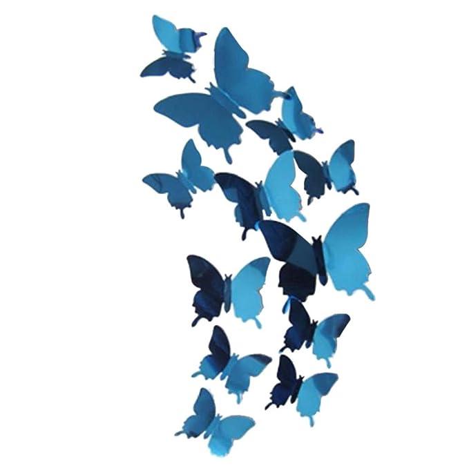 FORH 12 PCS 3D Schmetterlinge Wanddeko Aufkleber Abziehbilder Wand  Aufkleber Hauptdekorationen Wandtattoo Schmetterlings Regenbogen Wand