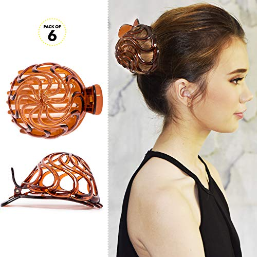 Shells Wand (RC ROCHE ORNAMENT Womens Shell Dome Round Circle Stylish Plastic Strong Grip Hinge Side Slide Bun Maker Clips Girls Beauty Accessory Hair Clip, 6 Pack Count Medium Brown)