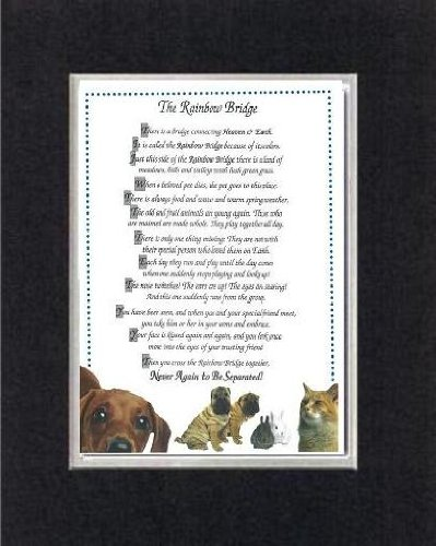Touching and Heartfelt Poem for Dog Memorial - [The Rainbow Bridge] Dog Memorial Wall Decor Poem Pet Saying Bereavement on 11 x 14 CUSTOM-CUT EXTRA-WIDE Double Beveled Matting