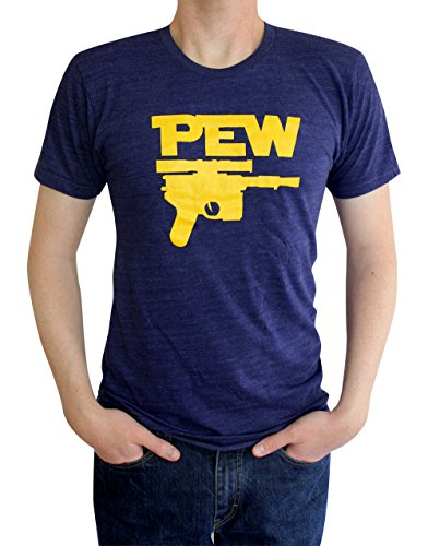 Pew Blaster Funny Movie T-Shirt (Medium, Tri-Blend (Indigo))