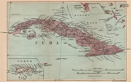CUBA Vintage Map Inset Puerto Rico West Indies Caribbean - Vintage map of cuba