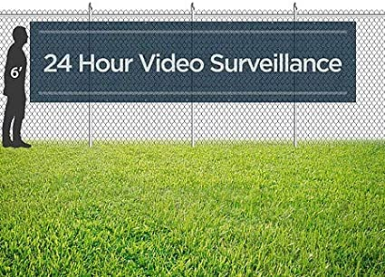 24 Hour Video Surveillance 12x3 Basic Navy Wind-Resistant Outdoor Mesh Vinyl Banner CGSignLab