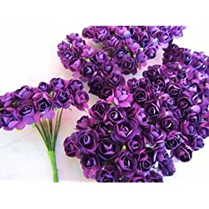 www.embellishmentworld.com 144 Mulberry Paper Rose Flower Bouquet/wire stem/scrapbooking/wedding H420 Purple Ship Fast 101