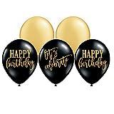 White Rabbits Design Happy Birthday Balloons, Let's Celebrate Balloons, Birthday Party Balloons, Gold and Black, Birthday Party Decor, Birthday Party Balloons, Set of 5
