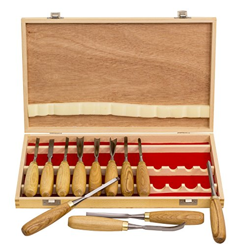 12-PC Professional Carving Chisel Tool Set with American Ash Wood Handle ()