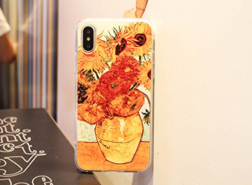 - iPhone X Case,Blingy's New Floral Style Protective TPU Rubber Case for iPhone X (Van Gogh)