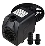 Minerva 400 GPH Submersible Water Pumps For Aquarium, Tabletop fountains, Pond, Water gardens and Hydroponic systems with Two Nozzles, CE-ROHS Approved, 5.9ft Power Cord