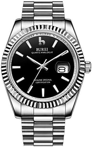 BUREI Men's Quartz Wrist Watch Model Design with Date Window Japanese Quartz Movement Synthetic Sapphire Glass Stainless Steel Watch Band