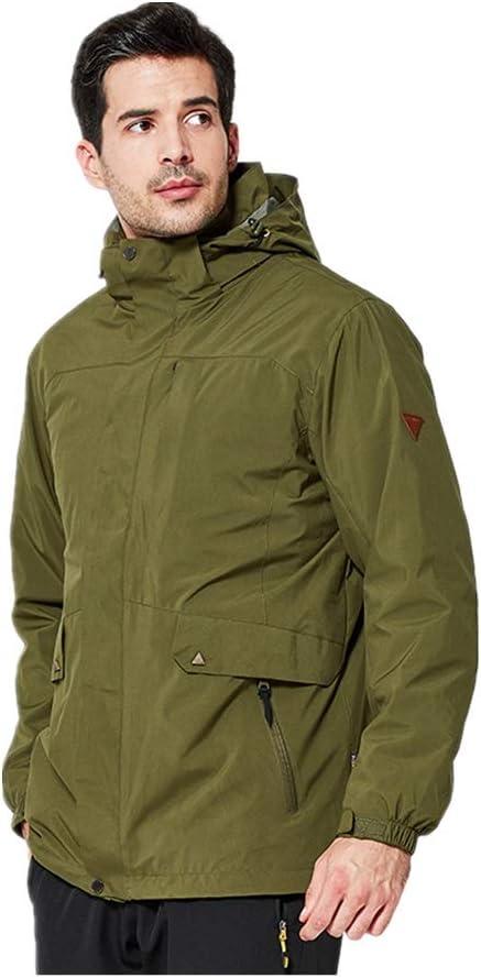 スキージャケット 屋外の防水ジャケットのために置かれる取り外し可能なライニングの防風のカップル ハイキングキャンプの散歩に最適 (色 : Olive 緑, サイズ : XXL) Olive 緑 XX-Large