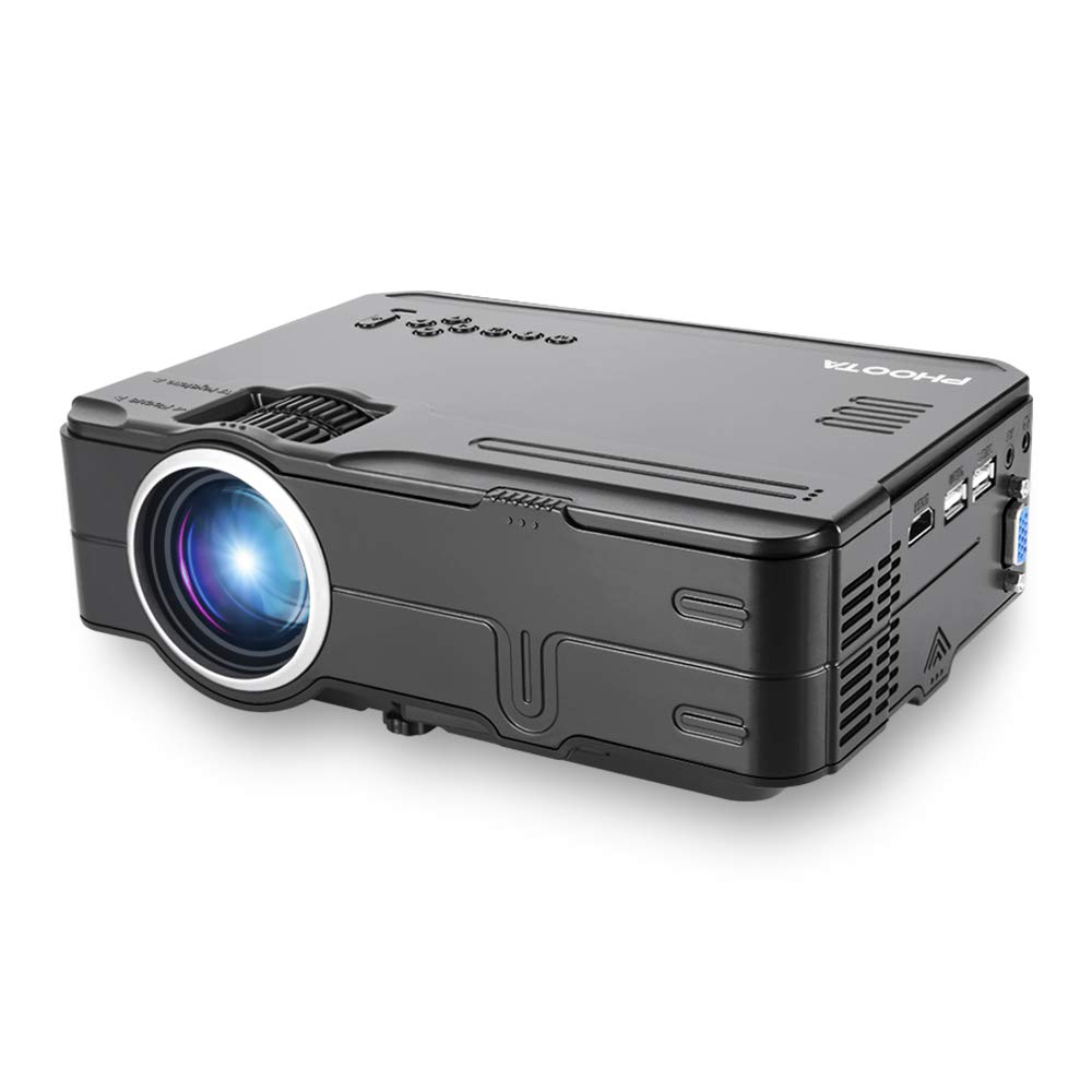 Projector, PHOOTA Mini Projectors, 2200 Lumen, Portable LED Projector Support 1080P, HDMI, USB, VGA, AV, Multimedia Theater LCD Video Projector for Home Cinema, TV, Laptop, iPhone & Android Smartphone