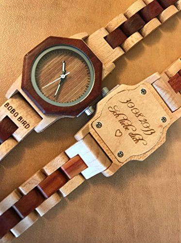 Engraved All Wood Bamboo Wooden Ladies Womens Octagon Two Tone Wood Watch
