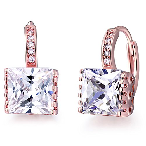 GULICX Fashion Jewellery Elegant Gold Tone Earrings Princess Cut Zircon Hoop Huggie Earrings (Gold Tone Huggie Earrings)