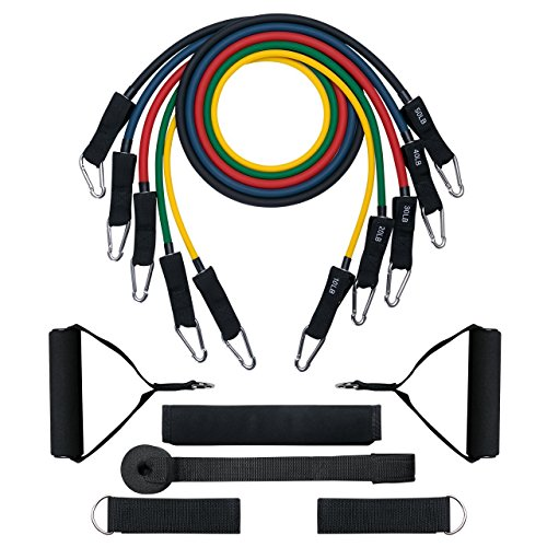 Mpow [G-3] Resistance Bands, Up to 150 LBS & Updated with New Model Door Anchor & Band Guard, Fitness Tubes Set for Losing Body, Strengthening, Shaping Body, Rehabilitative Exercises (G-tube Kit)