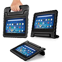 TNP Shock Proof Case for All New Fire HD 8 Tablet (7th Gen, 2017 Release) - For Kid Friendly Child Proof Anti Slip Impact Drop Light Weight Convertible Handle Stand Cover Protective Case (Black)