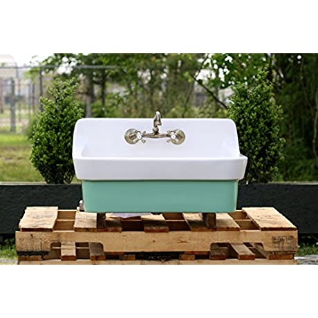 Arsenic Green Vintage Style High Back Farm Sink Original Porcelain Finish Apron Kitchen Utility Sink New Faucet Drain