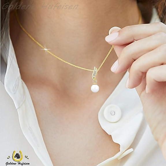 S/üsswasserperlen Ohrstecker mit Halskette 925 Sterling-Silber Damen M/ädchen Schmuck-Sets