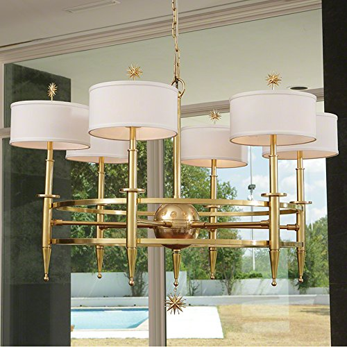 Large 6 Arm Shades Star Chandelier | Brass Gold Planetary Mid Century (Brass Six Arm Chandelier)