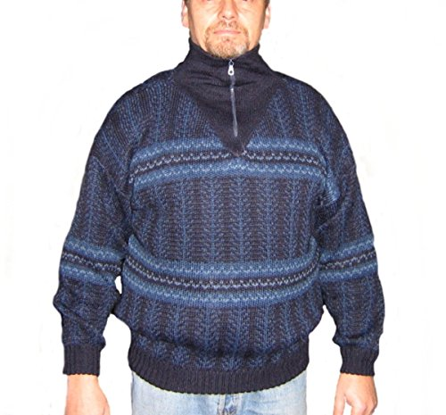 Alpakaandmore Mens Thick Turtleneck Pullover Peruvian Alpaca Wool Blue Tones (Small) Peruvian Alpaca Wool Mens Sweater