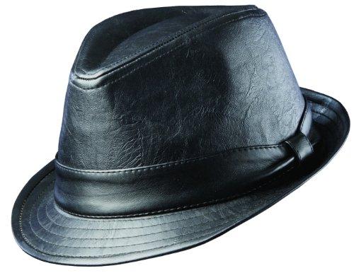 Bogart Costume (Dorfman Pacific Mens Faux Leather Teardrop Shape 1.5 Inch Brim Fedora Hat, Large, Black)