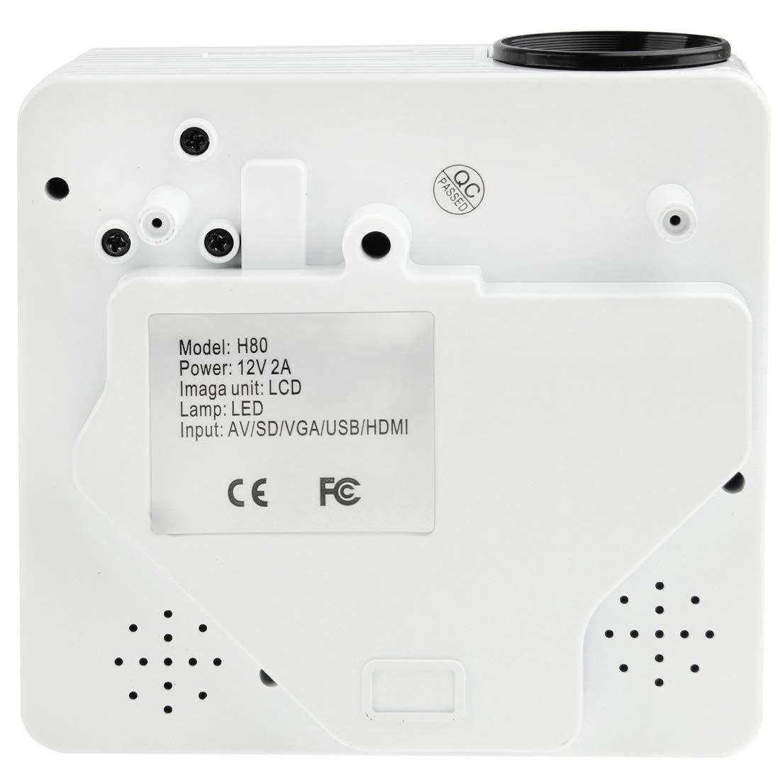 Wakaa Mini proyector LED portátil Multimedia de 80 lúmenes 1080P ...
