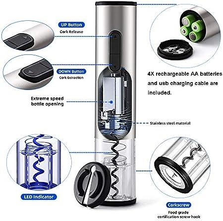 Juego de abridor de vino eléctrico de acero inoxidable, sacacorchos, juego de abridor de botellas de vino recargable por USB, funciona con pilas AA y cortador de papel de aluminio