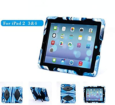 iPad 4 Case,Kids Case for iPad 2 3 4,Travellor shockproof case with Stand Holder Shell Cover Case Rainproof Sandproof Dirtproof Shockproof for Apple iPad 2 3 4 (Navy&Black)