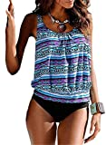 Happy Sailed Women Plus Size Two Piece Floral Print Tankini Swimsuit Bathing Suit, Large Purple