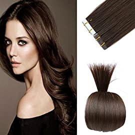16 inches Remy Tape in Hair Extensions Full Cuticle Virgin Hair Straight 40g 20pcs Jet Black Color
