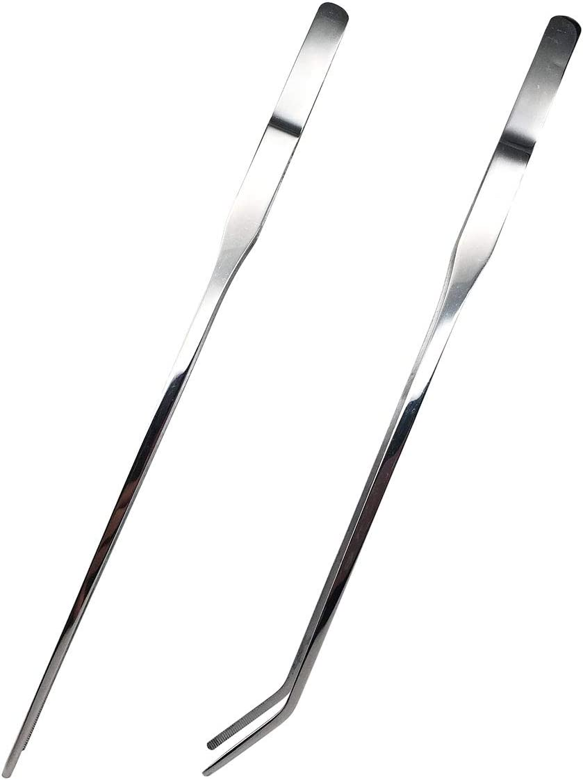 Reptile Feeding Tongs Stainless Steel Straight and Curved Tweezers Polished Long Handle Feeder Tools for Lizard Gecko Snake Spider Bird and Fish Aquariums,Silver